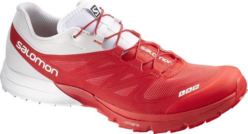 zapatilla masculina salomon- s-lab sense 4 ultra rojo/blanco