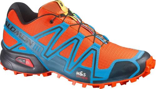 zapatilla masculina salomon -  speedcross 3 m naranja/azul