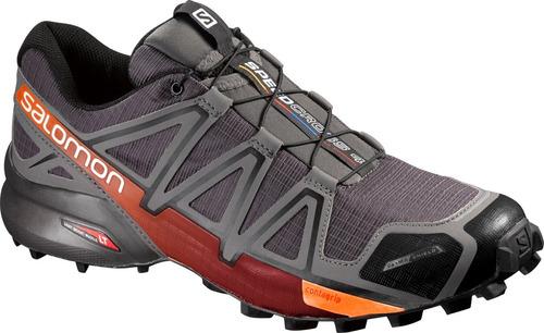 zapatilla masculina salomon- speedcross 4 cs m gris/naranja