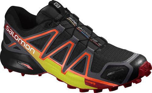 zapatilla masculina salomon- speedcross 4 cs m negro/naranja