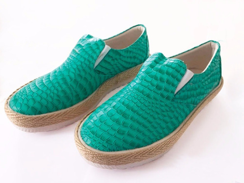zapatilla mujer verano verde esmeralda