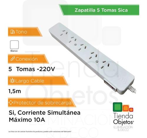 zapatilla multiple 5 tomas c/cable 1,5mts blanco sica
