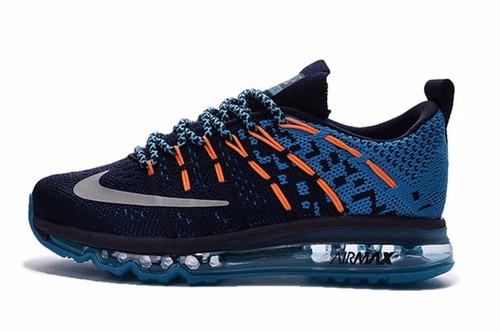 zapatilla nike air max 2016 print de niño negro/azul