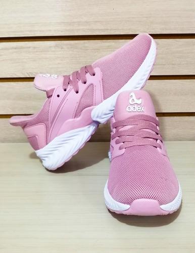 zapatilla tenis deportiva para dama importada gris rosa negr