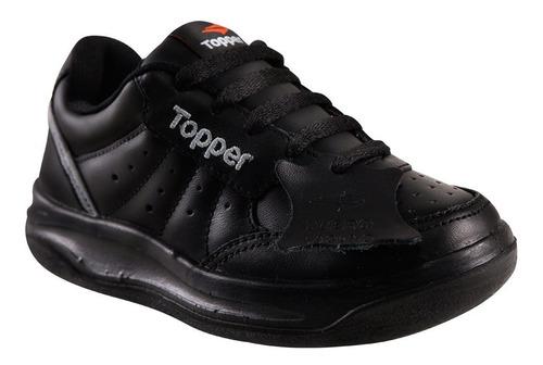 zapatilla topper cuero x forcer kids negro/ gris/ naranja
