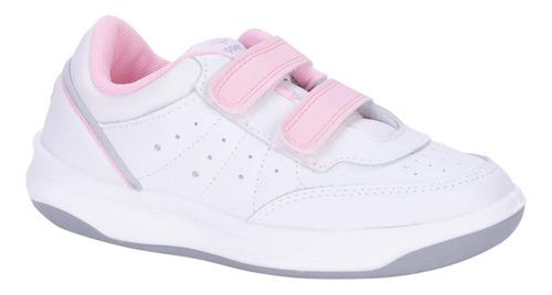 zapatilla topper cuero x forcer kids velcro blanco/ rosa
