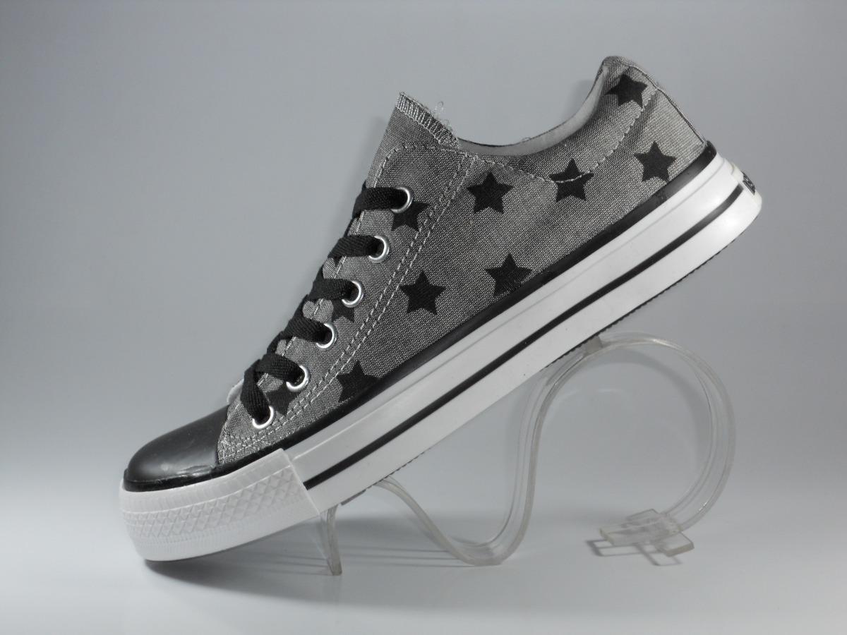 87fd4484894269 zapatilla unisex newport de lona gris con estrellas negras. Cargando zoom.