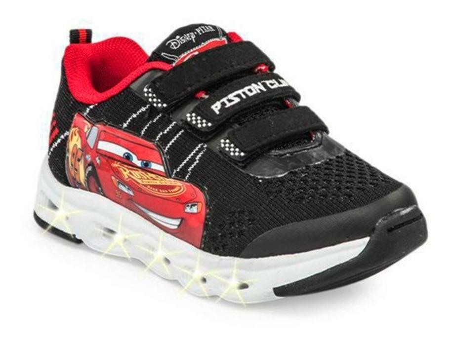 Zapatillas Addnice Con Luz Cars Flex Extreme Negra Niño