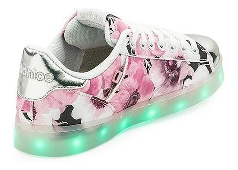 zapatillas addnice luces led carga usb flores 2 mundo manias