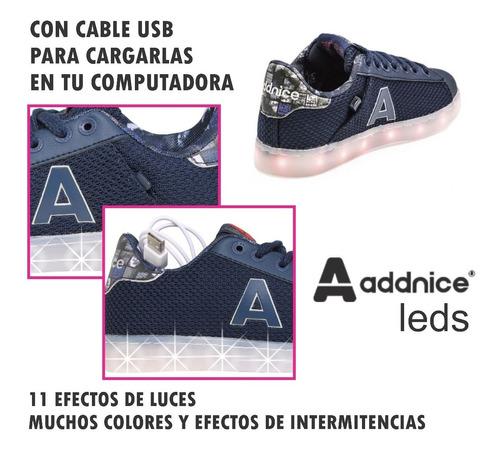 zapatillas addnice luces led carga usb geometric mundomanias
