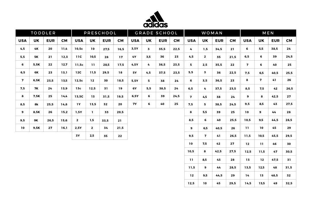 tabla talles zapatillas adidas