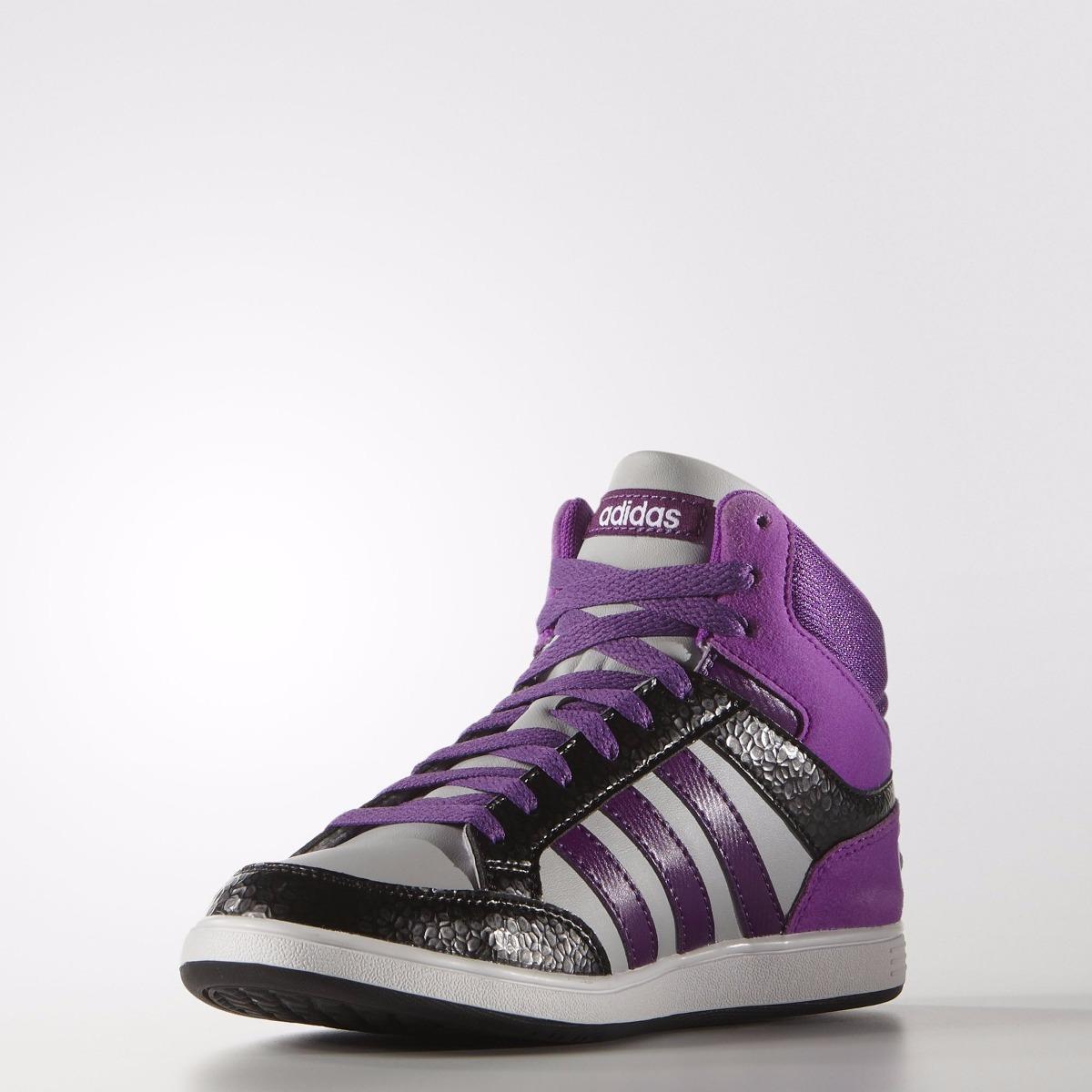 zapatillas adidas grises con violeta