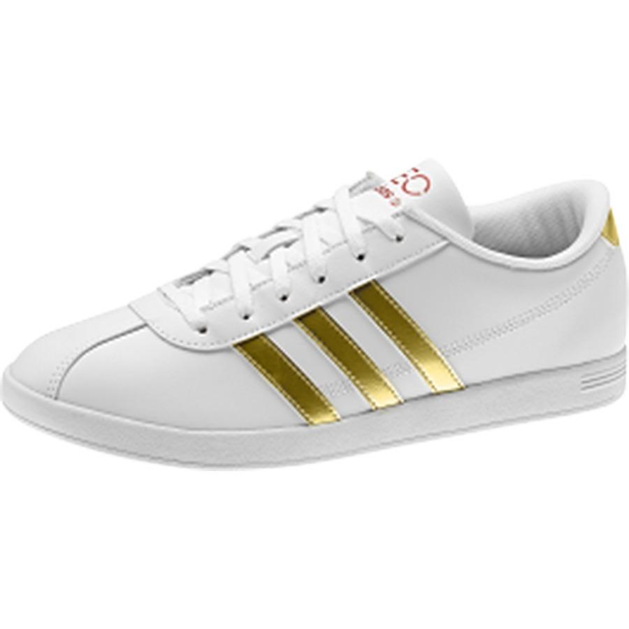 adidas neo blancas y doradas