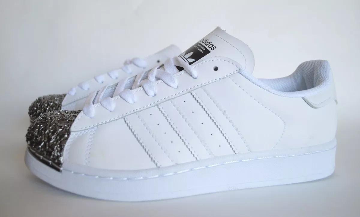 zapatillas adidas blancas con plateado