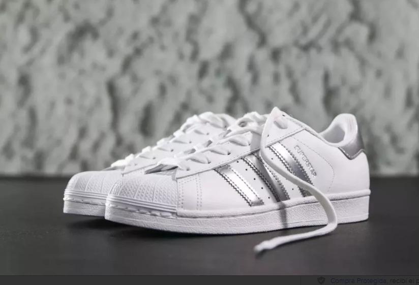 zapatillas adidas superstar blancas tiras plateadas. Cargando zoom. 5f4d322776443