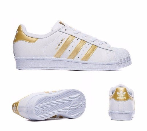 7afb548e39879 Zapatillas adidas Superstar Blanco Y Dorado Originales Eu -   2.490 ...