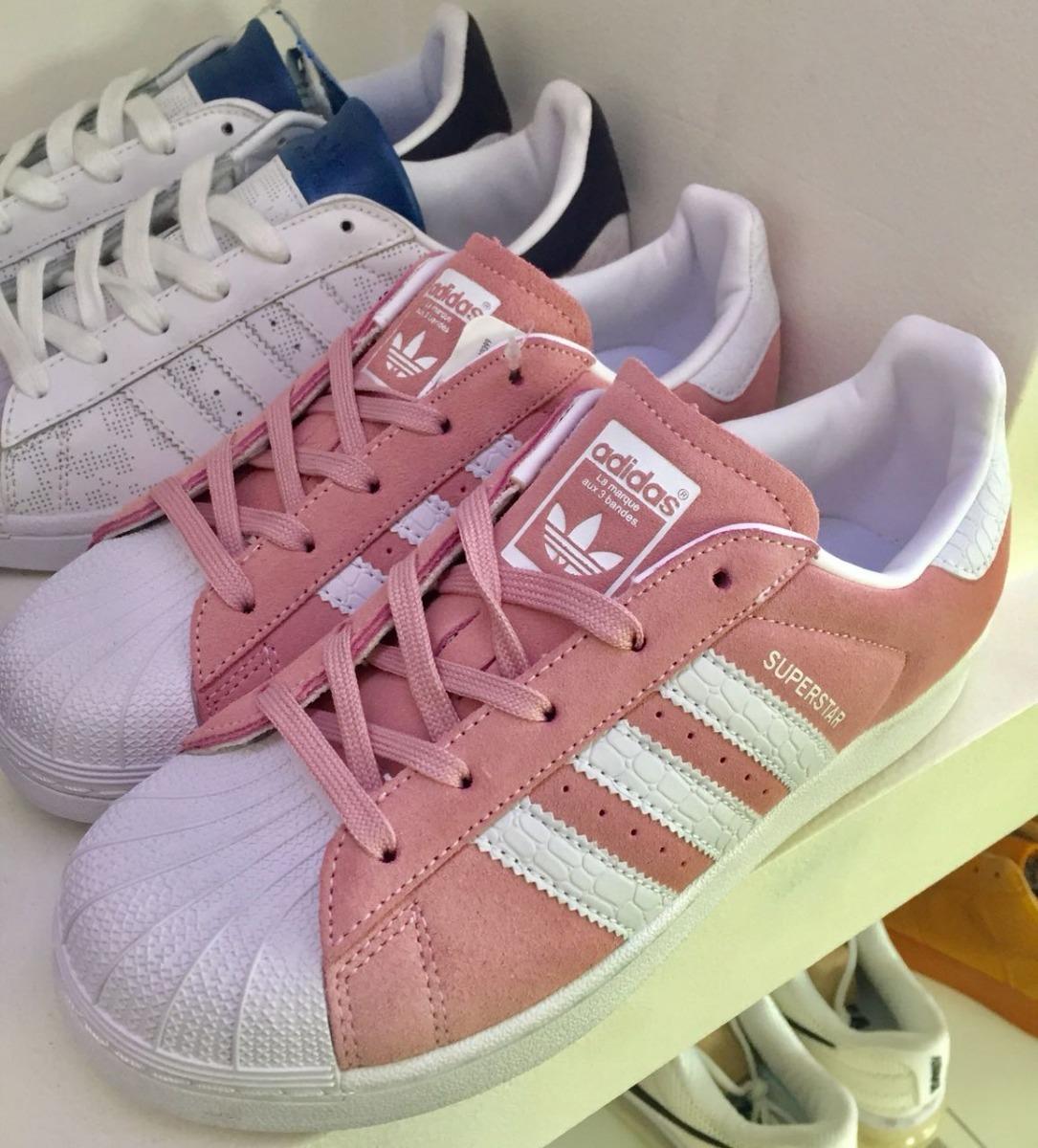 adidas superstar blancas y rosas