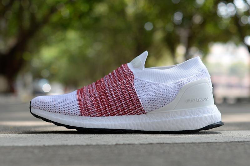 zapatillas adidas ultraboost sin cordones blanco con bordo. Cargando zoom. a227577966539