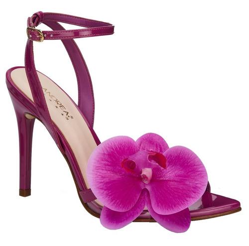 zapatillas andrea con flor 3d orquidea moradas & blancas 408