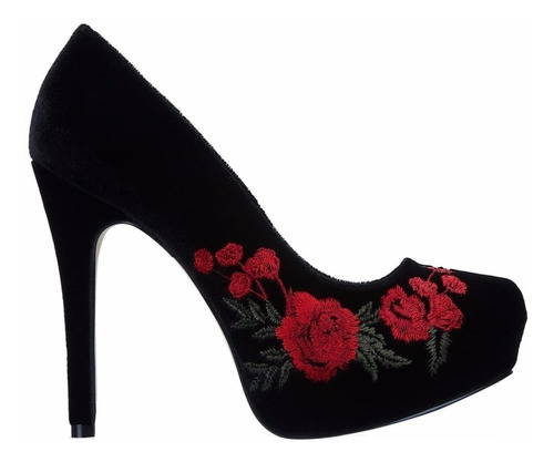 zapatillas andrea negras pump rosa bordada 2508948 mod. 713