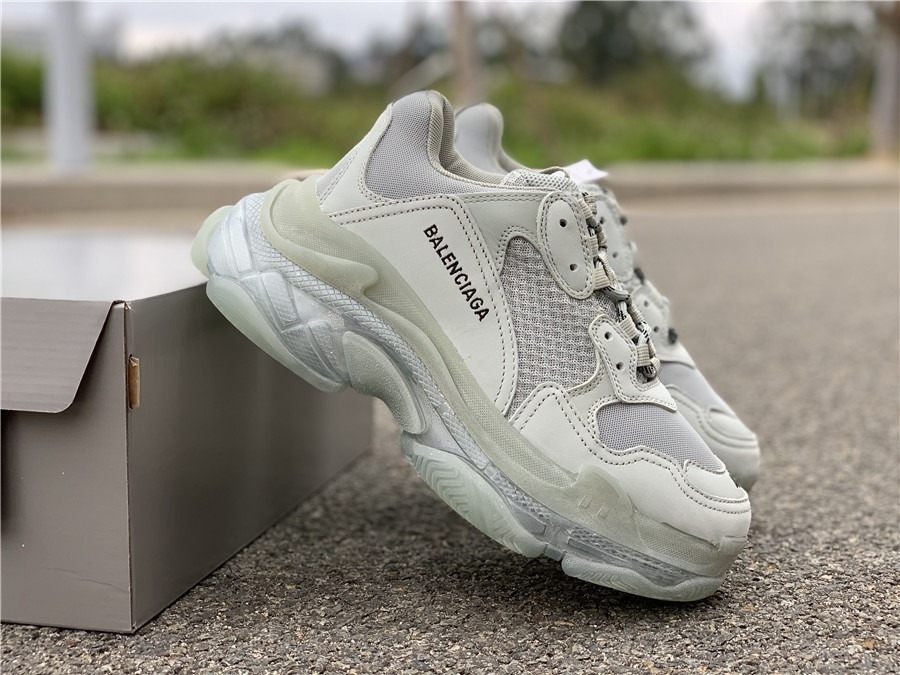 Balenciaga Mens Triple S Airsole Leather And Mesh Sneakers