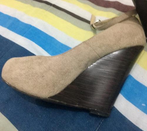 zapatillas beige correa no.3 1/2 plataforma envío gratis