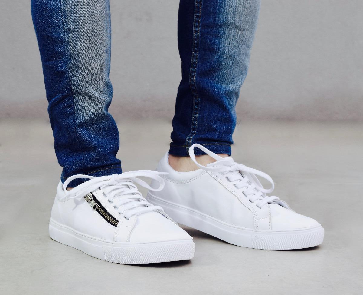 Blancas Moda Con Zapatillas Cierre Hombre Cuero iOPkuXZ