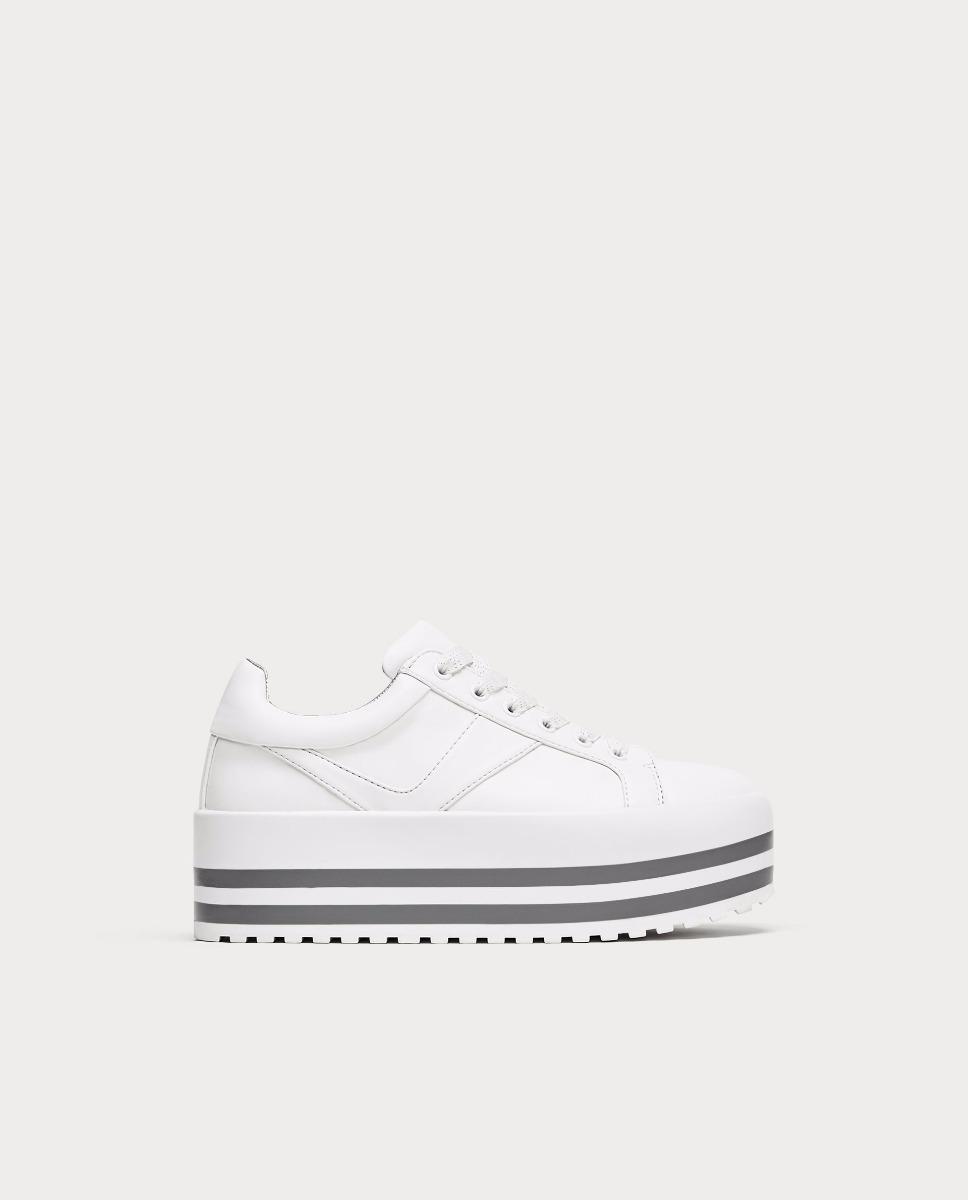 ab0c3d59 zapatillas blancas plataforma lineas grises importadas zara. Cargando zoom.
