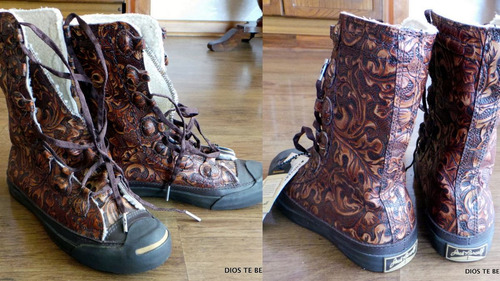 zapatillas botas converse jack parcell cuero tallado piel