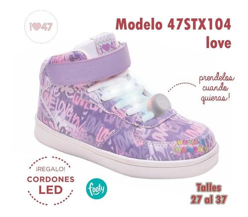 zapatillas botitas 47st street cordon luz led love footy
