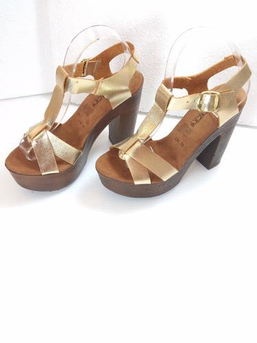 zapatillas color dorado, cruzadas, moda tacón 13cm piel