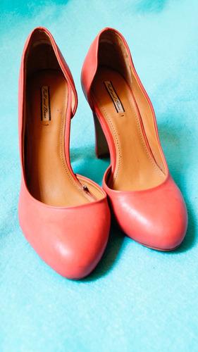 zapatillas color durazno tacon alto