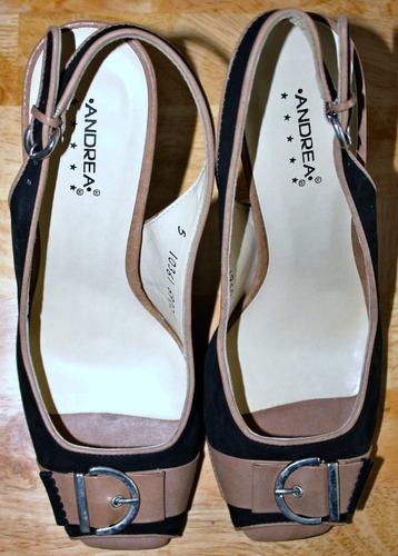 zapatillas color negro con beige boca de pescado talla 25 mx