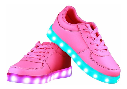 zapatillas con luces led color fucsia recargables usb