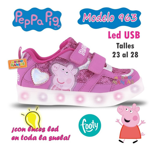 zapatillas con luces led usb peppa pig footy 963 mundomanias