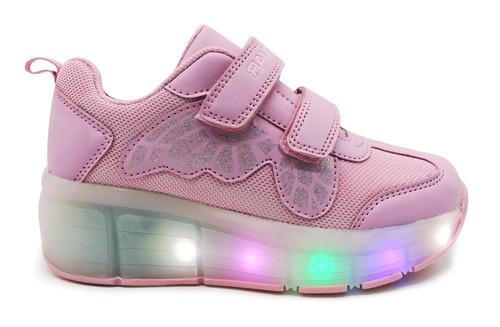 zapatillas con luces y ruedita jaguar art 4014