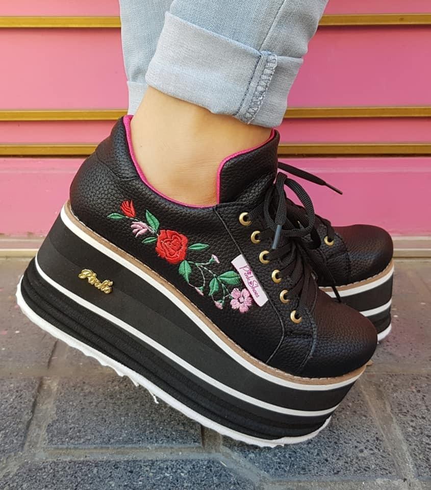 new arrival 091ca a9151 zapatillas con plataforma y bordado linea pink shoes. Cargando zoom.