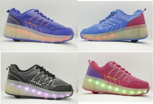 zapatillas con ruedas y led unixes recargables multicolor