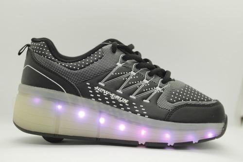 zapatillas con ruedas y led unixes recargables usb 4 colores
