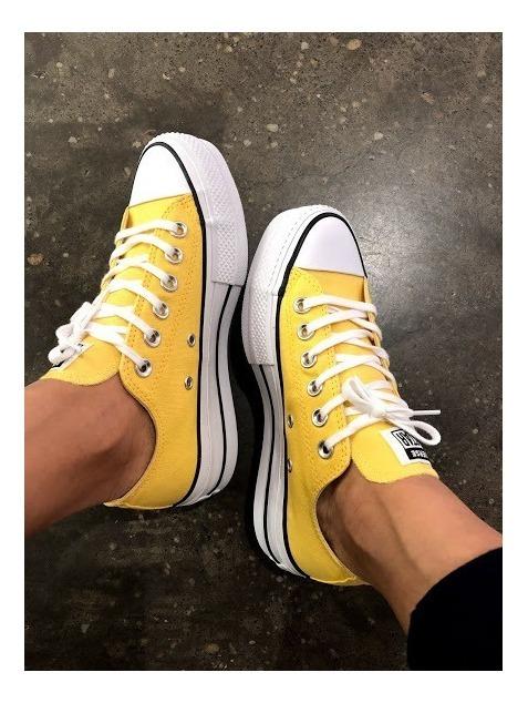 converse amarillas plataforma