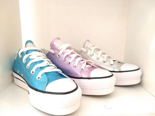 506790c47f ... new style zapatillas converse plataforma metalizada rosa azul plateado  c053b e0a7b