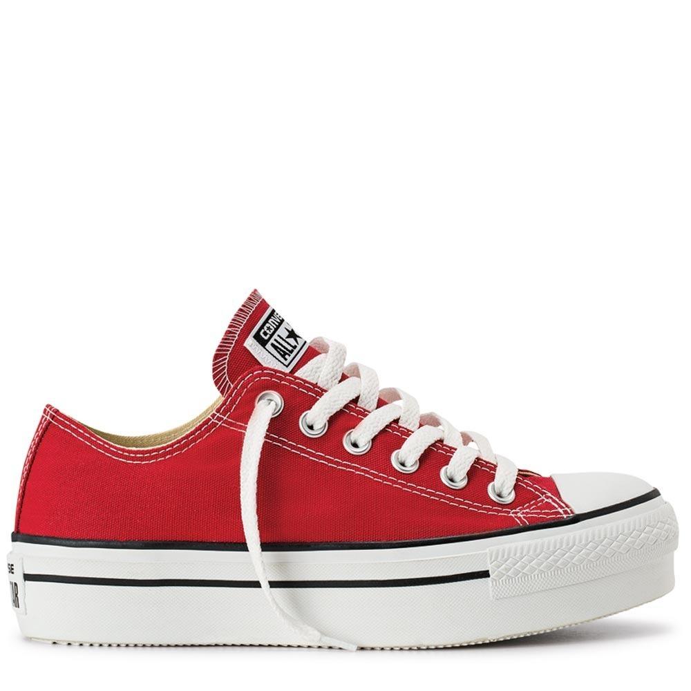 converse plataforma blancas y rojas