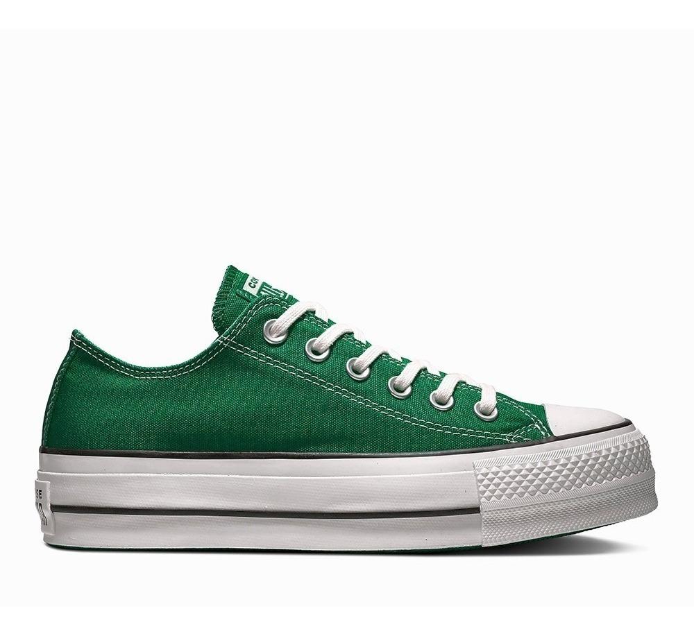 Zapatillas tipo converse verdes con plataforma