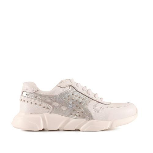 zapatillas cuero blanco combinado plateado mujer batistella