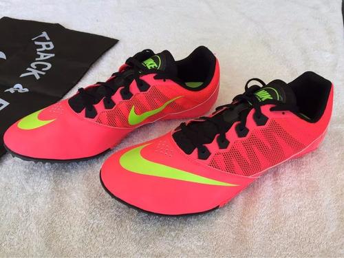 zapatillas de atletismo c/clavos. negra y naranja preguntar