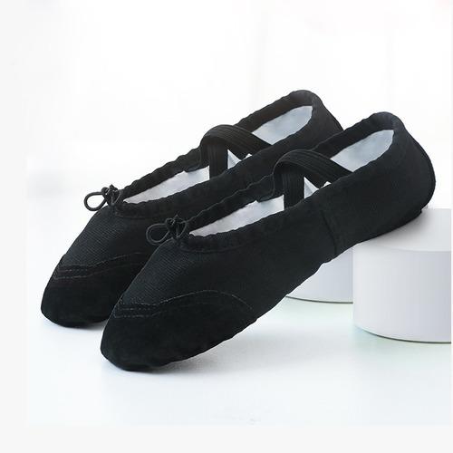 zapatillas de ballet media punta lona suela partida - black