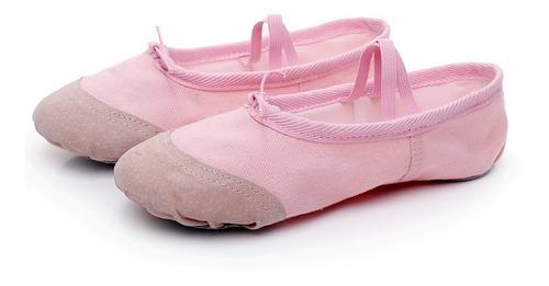 zapatillas de ballet media punta lona suela partida - rose