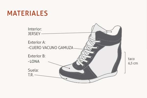 a30c024e56f65 Zapatillas De Cuero Acordonado Taco Escondido Ciro Art680 -   1.400 ...