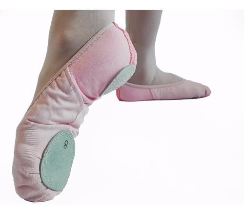 zapatillas de danza media punta badanas gabardina rosa
