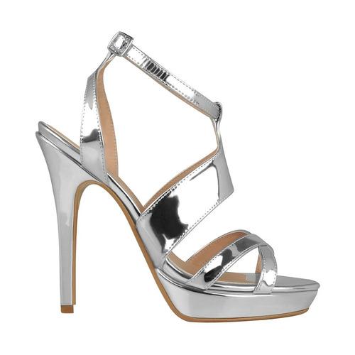 zapatillas de fiesta stylo para mujer charol plata 602